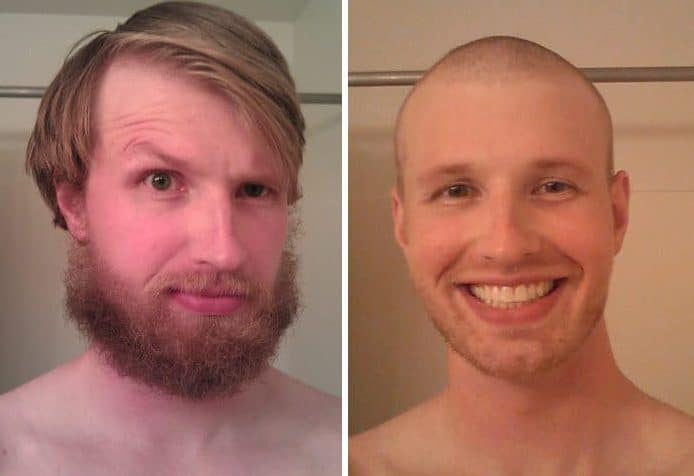 Shaved men before and after