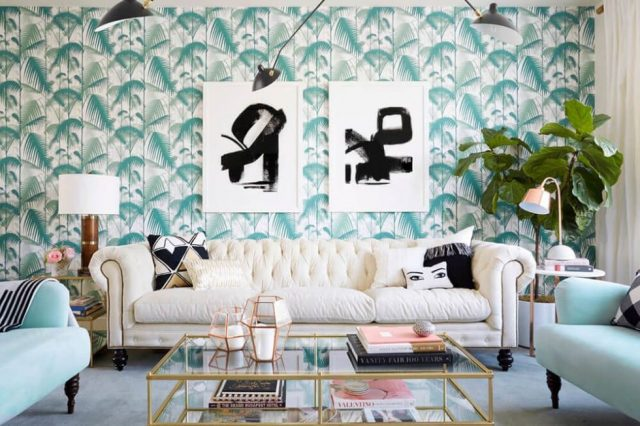 gallery-1469673940-midcentury-pink-palm-wallpaper-green-mint-chesterfield-livingroom-scale-of-furniture
