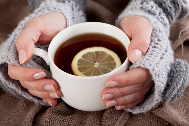 Tea with lemon on a cold day