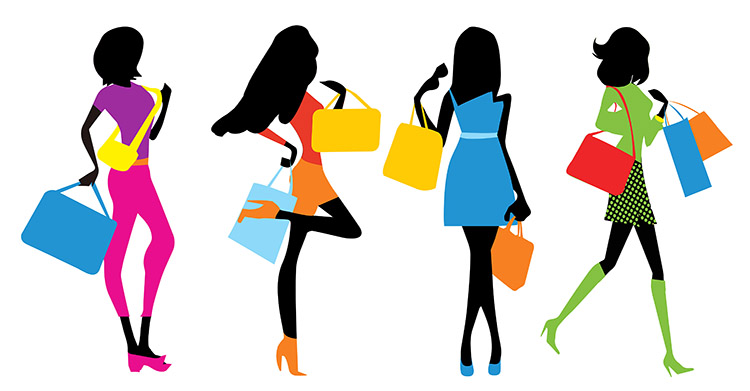 fashion girl shopping banner material