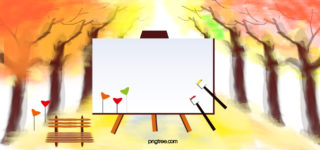 watercolor painting autumn trees background_30440